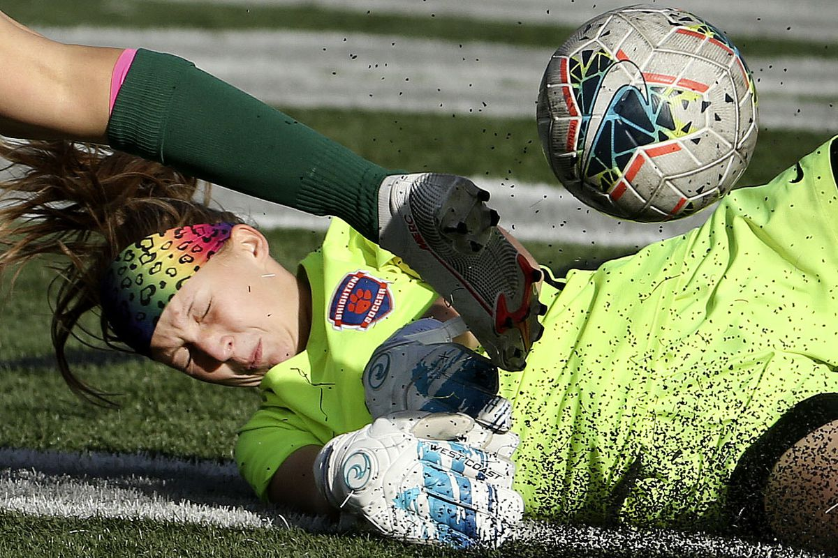 Brighton's goalie Haley Munson stops Olympus from scoring during the 5A high school girls soccer state quarterfinals at Olympus High School in Holladay on Thursday, Oct. 15, 2020.