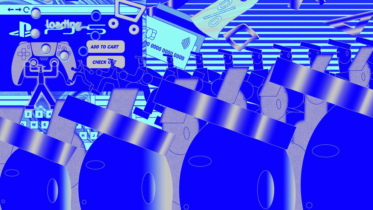Illustration inspired by internet shopping in blues and grays