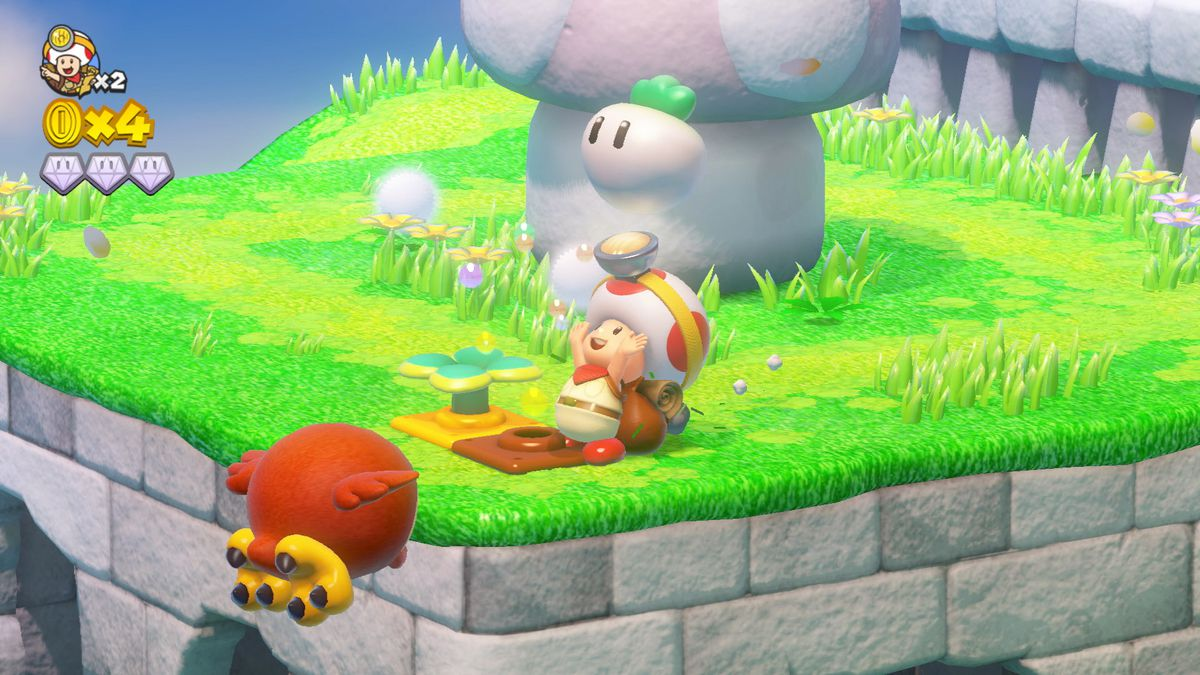 Captain Toad: Treasure Tracker - Captain Toad pulling a turnip out of the ground