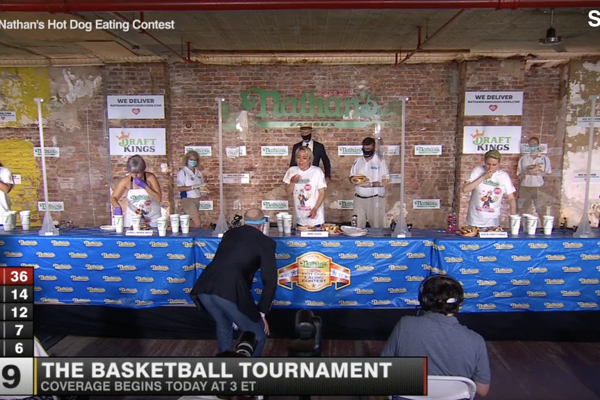 Social distancing at the hot dog eating contest