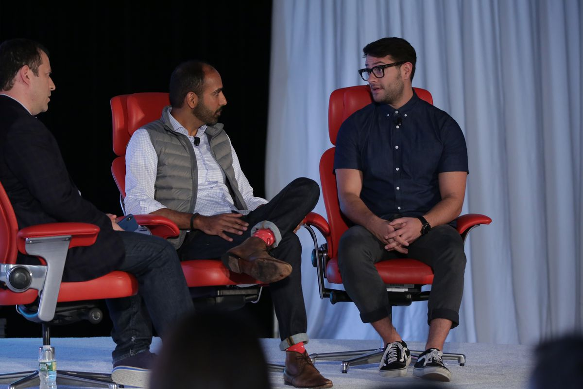 Native founder and CEO Moiz Ali (center) and JT Marino (right), co-founder of Tuft & Needle, at Code Commerce in New York City