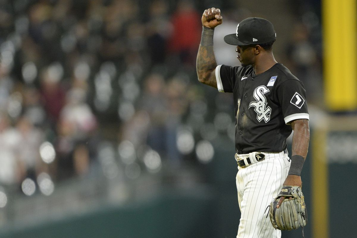 Tim Anderson #7 of the Chicago White Sox reacts after the final out against the Detroit Tigers on June 3, 2021 at Guaranteed Rate Field in Chicago, Illinois.