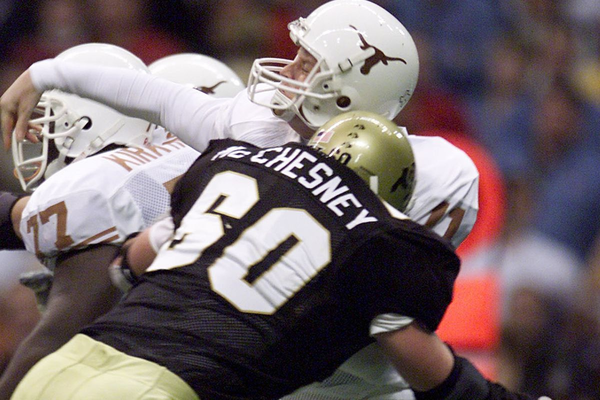 In 2001's Big 12 title game, No. 7 Colorado knocked Texas out of the national championship.