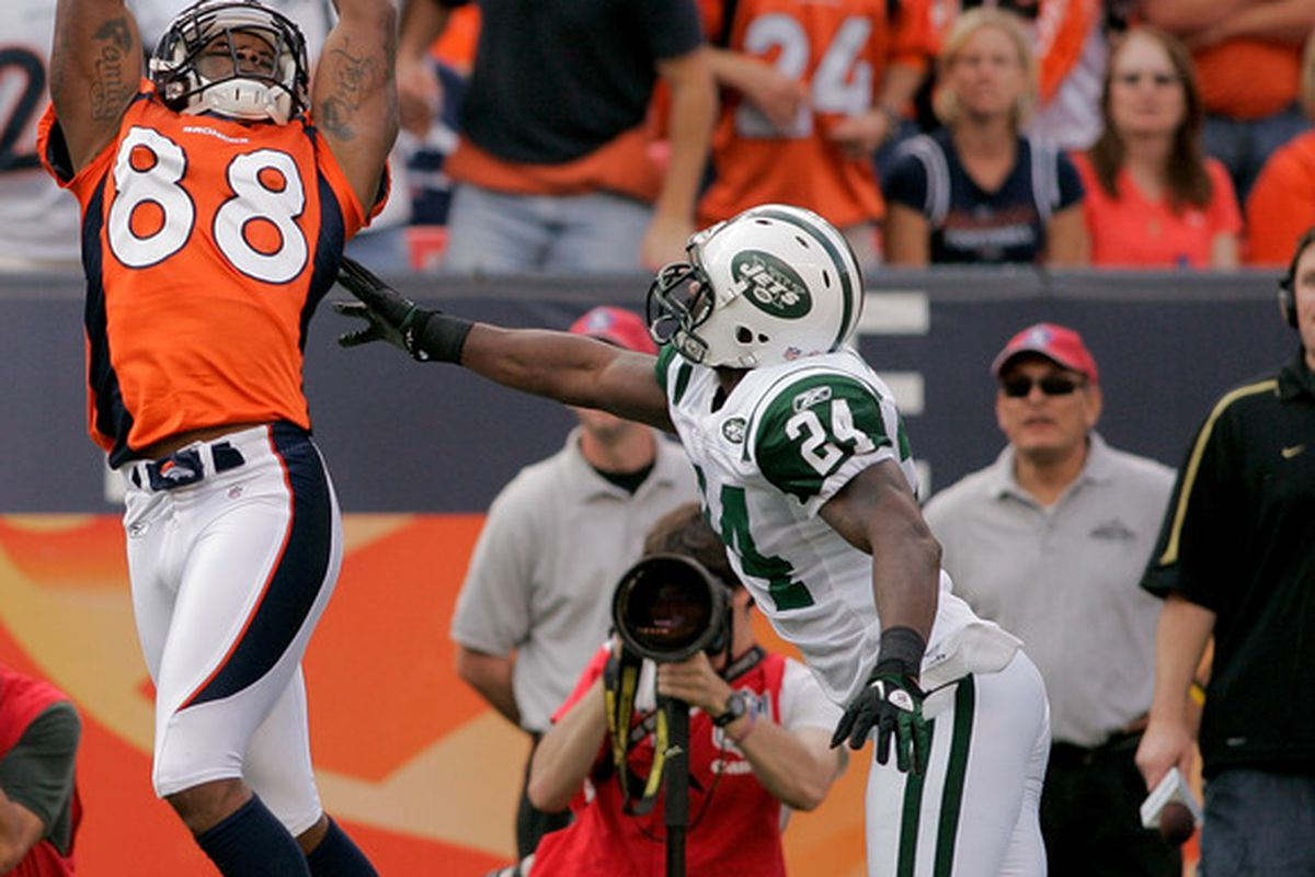 Wide receiver Demaryius Thomas of the Denver Broncos makes a  touchdown catch against cornerback Darrelle Revis the New York Jets at INVESCO Field at Mile High.  (Photo by Justin Edmonds/Getty Images)