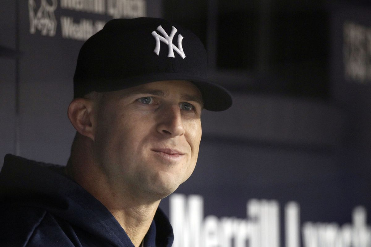 May 10, 2012; Bronx, NY, USA; New York Yankees outfielder Brett Gardner in the dugout against the Tampa Bay Rays at Yankee Stadium. William Perlman-The Star-Ledger via US PRESSWIRE
