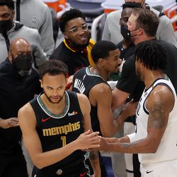 The teams are separated after a scuffle as the Utah Jazz and the Memphis Grizzlies play in game one of their NBA playoff series at Vivint Arena in Salt Lake City on Sunday, May 23, 2021.