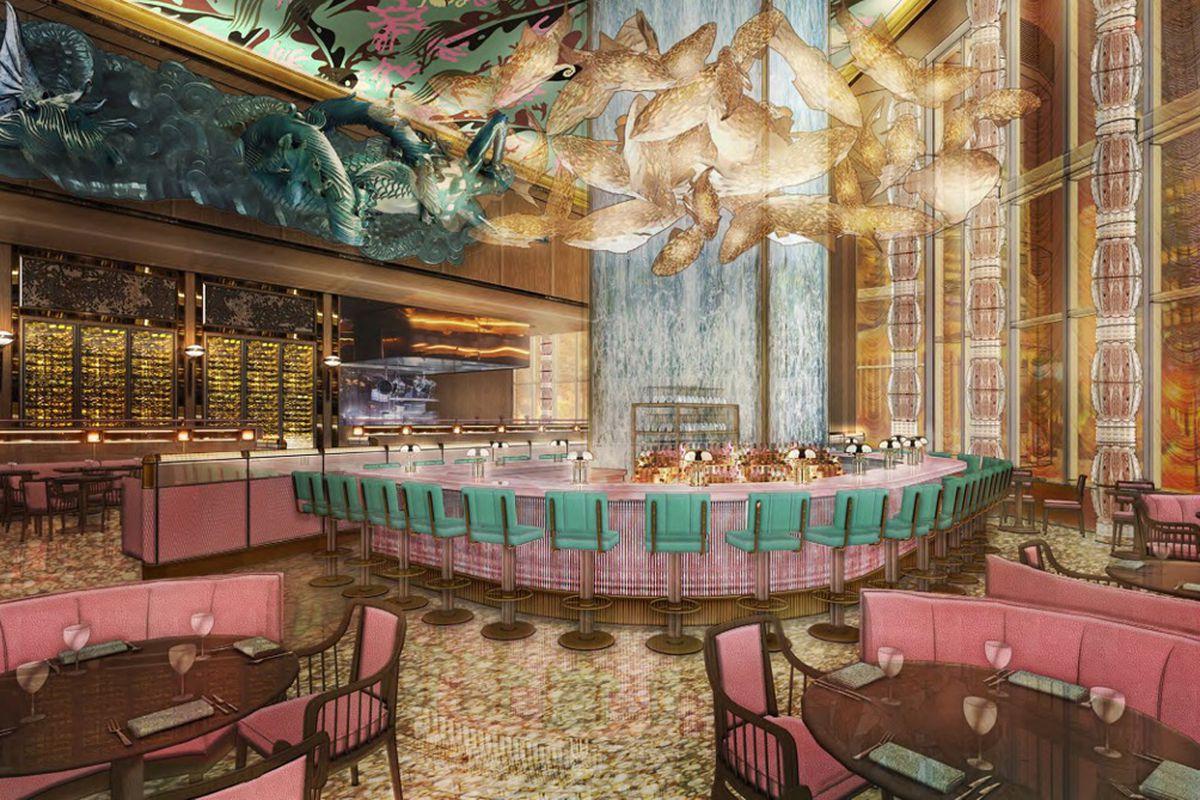 画的是一间餐厅,中间是一个大酒吧,四周是粉红色的椅子,顶部装饰着金花