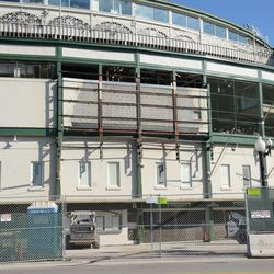 11:03 a.m. A closer view of the front of the ballpark -