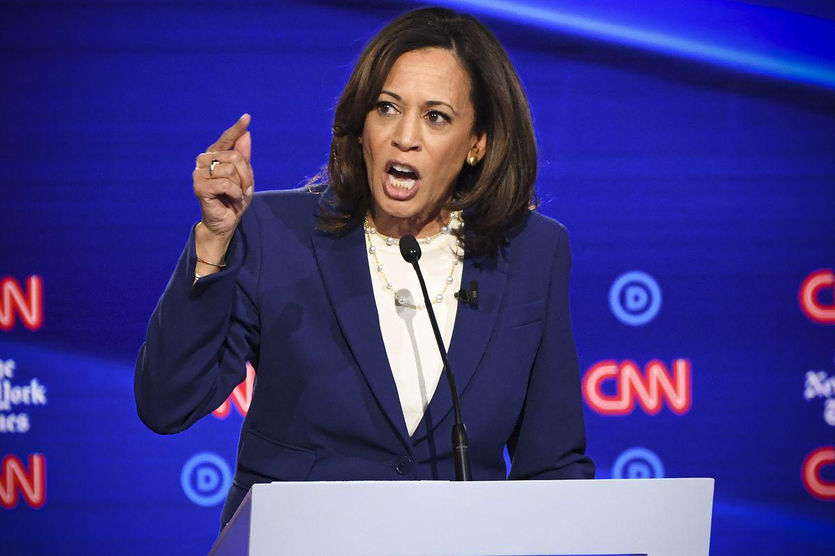 Sen. Kamala Harris (D-CA) speaks onstage during the fourth Democratic primary debate.