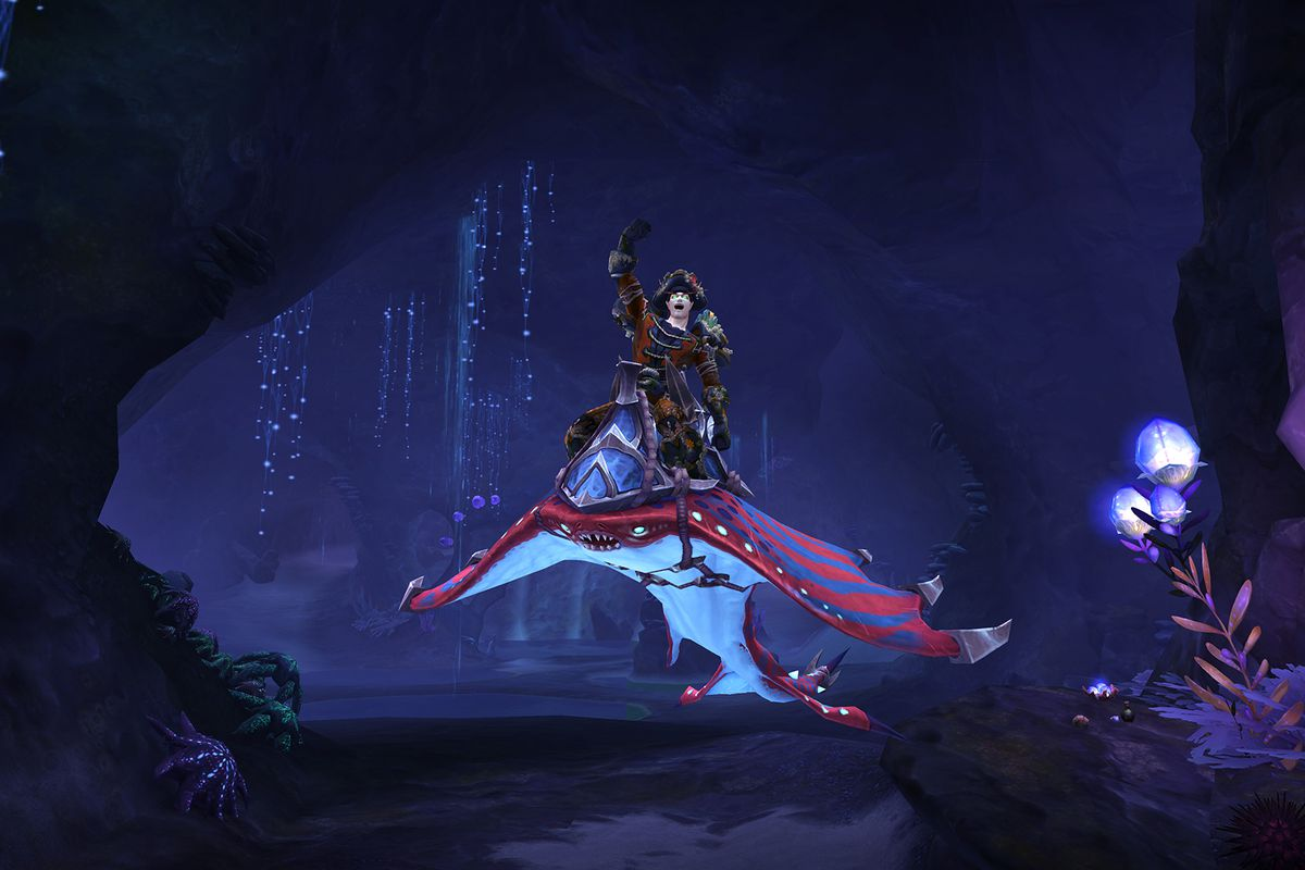 World of Warcraft - a player sits atop their stingray mount in the new Nazjatar zone in World of Warcraft