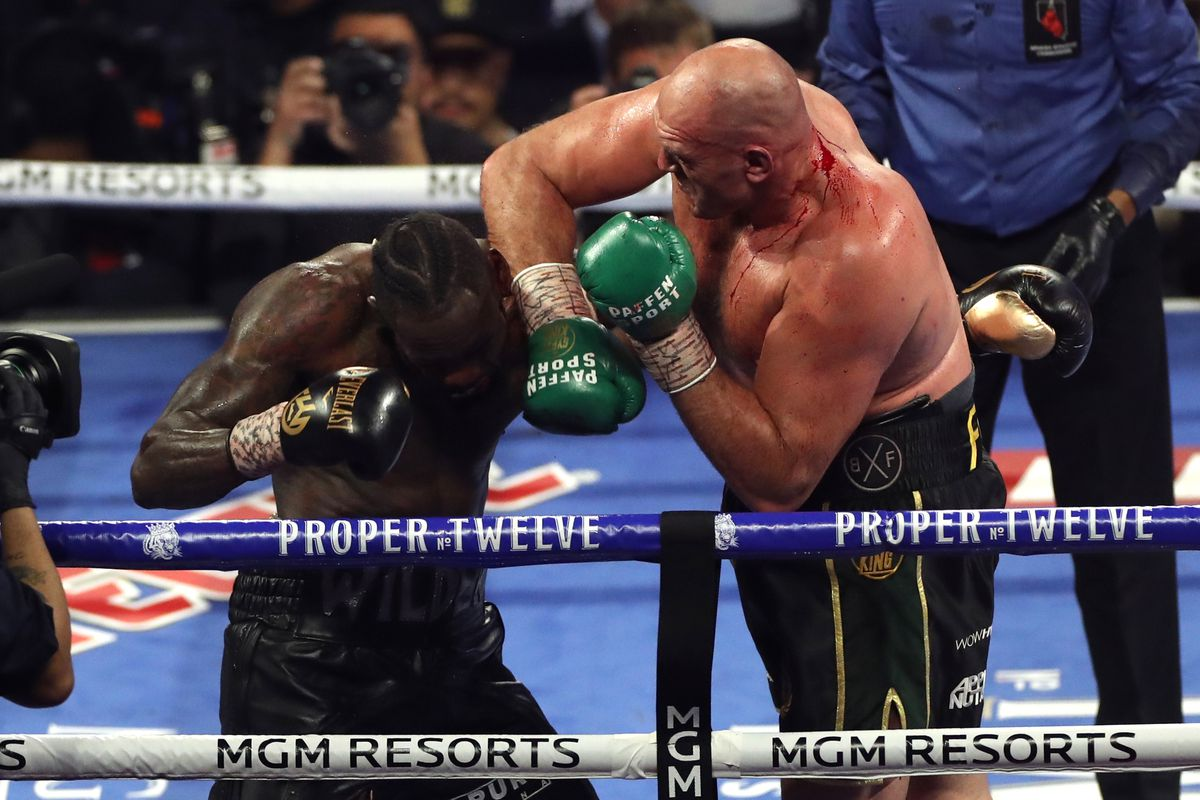 Tyson Fury (right) and Deontay Wilder during the World Boxing Council World Heavy Title bout at the MGM Grand, Las Vegas.