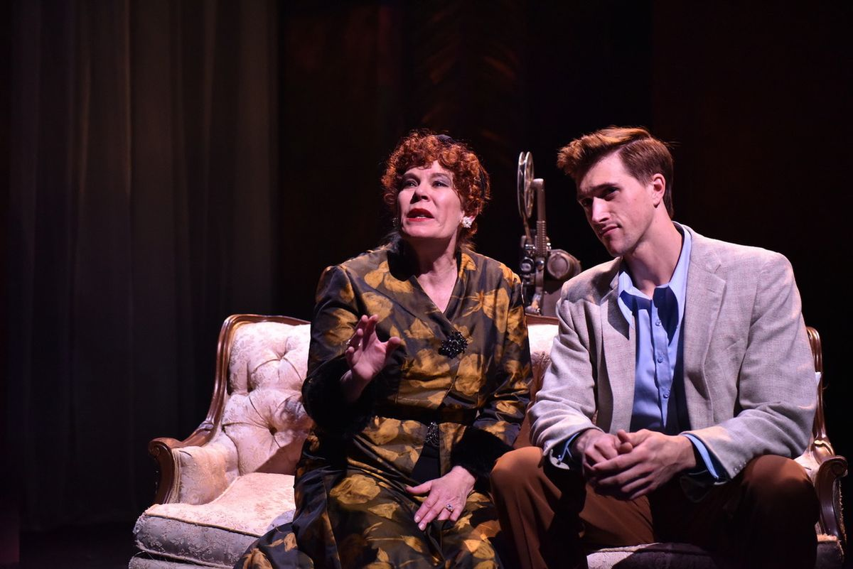 """Norma Desmond (Hollis Resnik) and Joe Gillis (Billy Rude) share a moment in Porchlight Music Theatre's production of the musical """"Sunset Boulevard."""""""