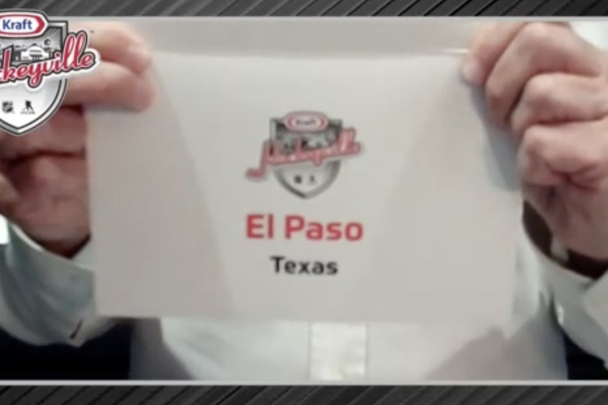 NHL Commissioner Gary Bettman announces El Paso, Texas, as the winner of the 2020 Kraft Hockeyville USA competition.
