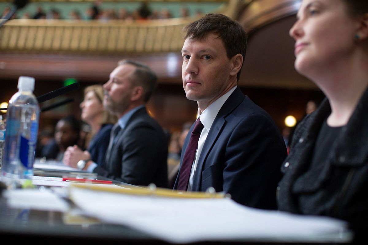 NYC Economic Development Corp. President and CEO James Patchett during City Council testimony with Amazon executives seeking to locate New York City offices in Long Island City, Dec. 12, 2018.