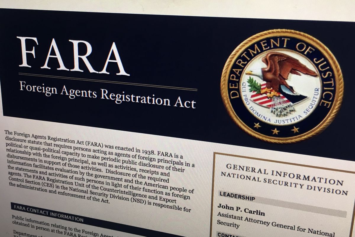 FILE - In this Aug. 18, 2016, file photo, a portion of the website for the website fara.gov, on the Foreign Agents Registration Act, is seen photographed in Washington. A push to give the Justice Department more enforcement authority over the lucrative an