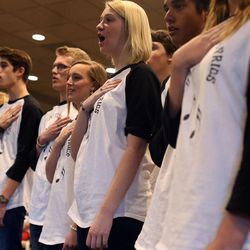 The Laytones of Layton High School sing the national anthem during tryouts at EnergySolutions Arena on Friday, Oct. 4, 2013. The winners will perform the anthem prior to each Utah Jazz home game during the 2013-2014 season.