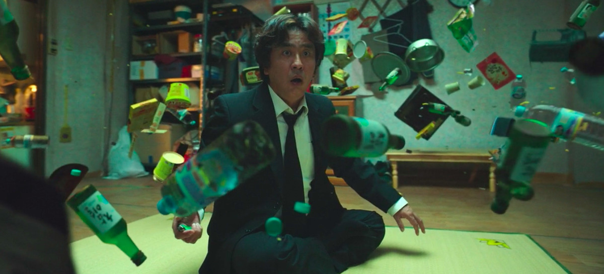 Psychokinesis - objects floating in front of a man using telekinesis