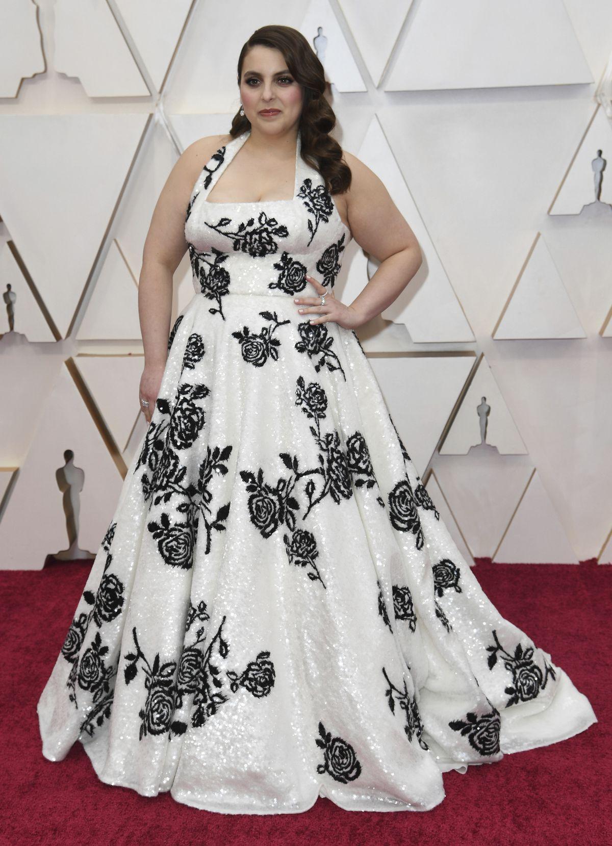 Beanie Feldstein arrives at the Oscars on Sunday night.