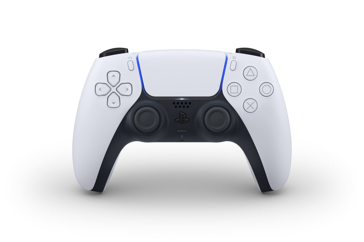 a product photo from the front of the PlayStation 5 controller, the DualSense, standing up
