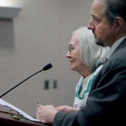 Evelyn Christine Johnson, 75, stands with her attorney, Michael Humiston, as she is sentenced Thursday, Feb. 9, 2012, to one to 15 years in prison for fatally shooting her husband, Alan Lavoy Johnson, in August 2004. She was initially charged with murder, a first-degree felony, but pleaded guilty in December 2011 to manslaughter, a second-degree felony.