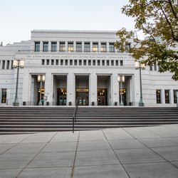 The Church of Jesus Christ of Latter-day Saints' Conference Center is pictured in downtown Salt Lake City.