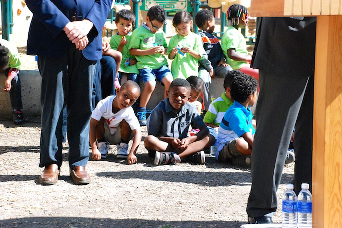 Preschoolers attending the Hope Children's Center in northeast Denver listen to speakers at a June 11 press conference announcing a campaign to ask voters to renew and raise a sales tax to fund the Denver Preschool Program.
