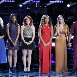 """Aaliyah Rose, left, Aliyah Moulden, Casi Joy, Felicia Temple, Lauren Duski, and TSoul of team Blake Shelton wait for the results of the voting after the live playoffs on """"The Voice."""""""