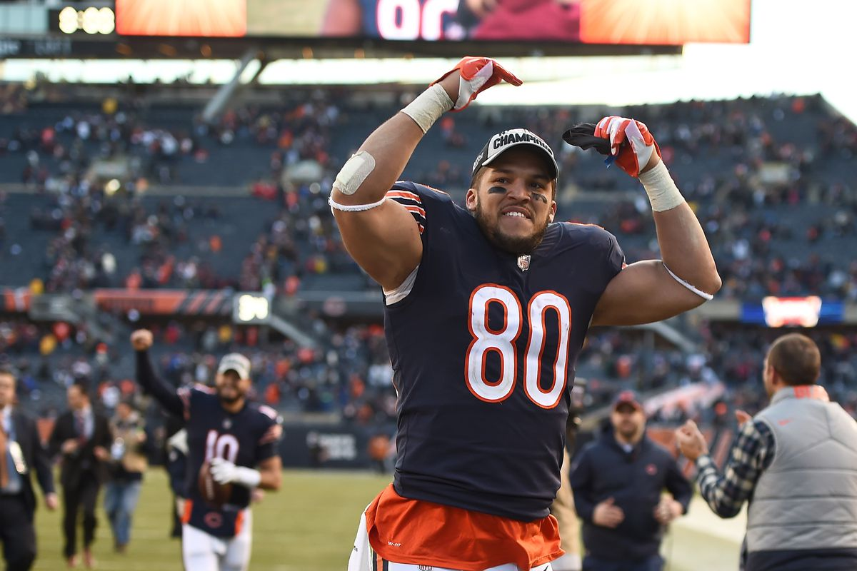 Trey Burton #80 of the Chicago Bears celebrates after defeating the Green Bay Packers 24-17 at Soldier Field on December 16, 2018 in Chicago, Illinois.