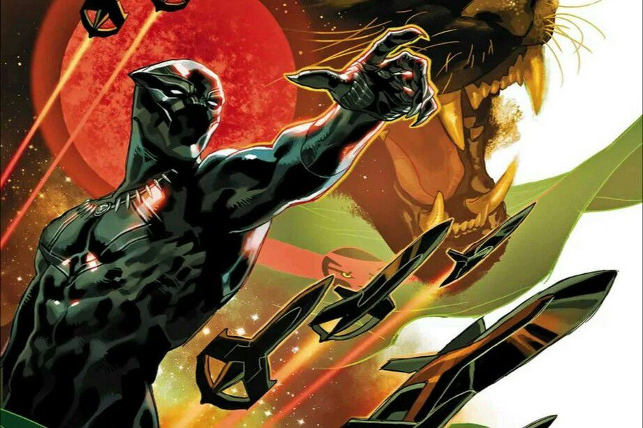 The Black Panther points the way forward, on a background of a snarling panther, Wakandan flags, and spaceships zooming through space, on a variant cover of Black Panther #1, Marvel Comics (2018).