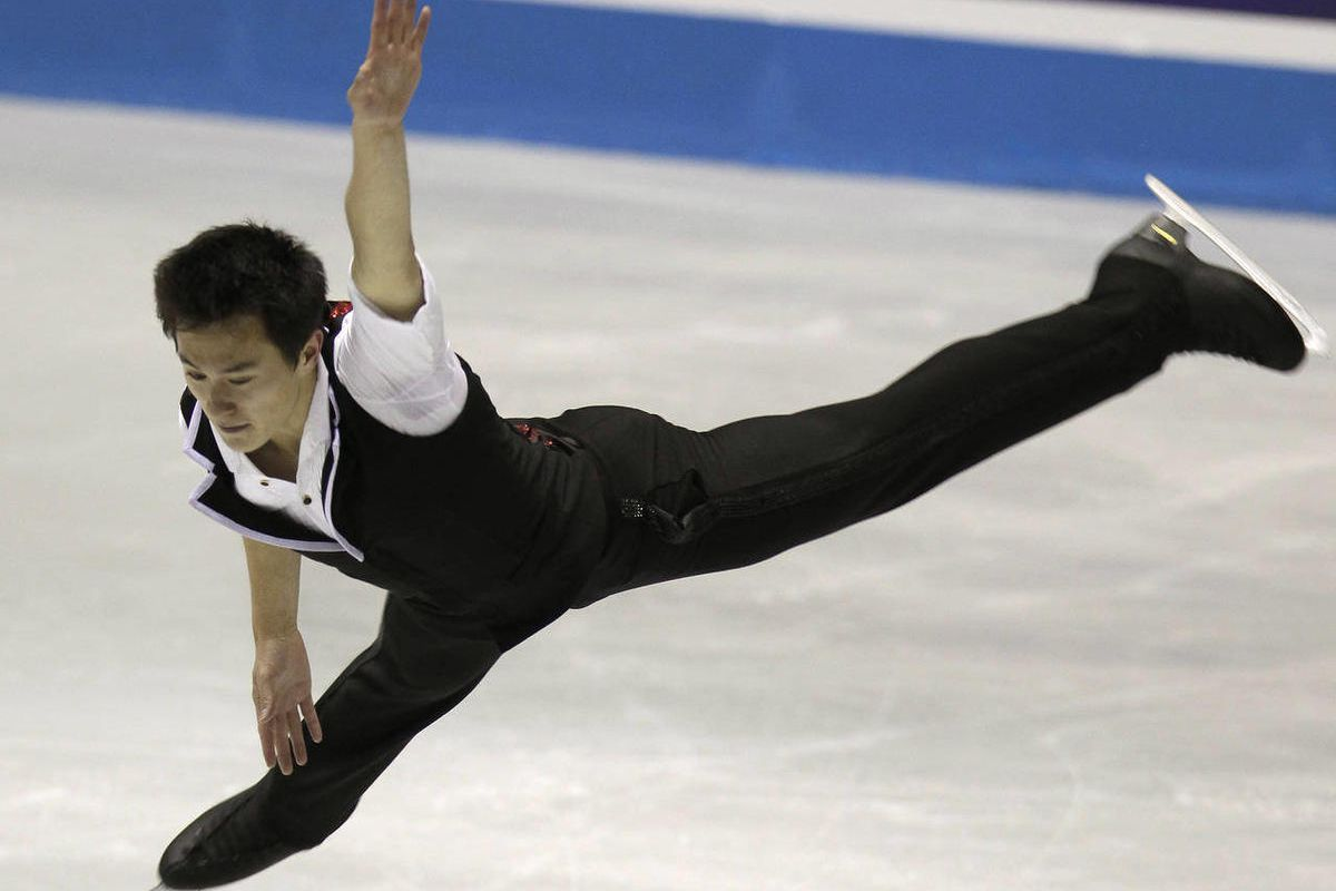 Patrick Chan of Canada performs during the men's short program at the International Skating Union's World Team Trophy in Tokyo, Thursday, April 19, 2012.