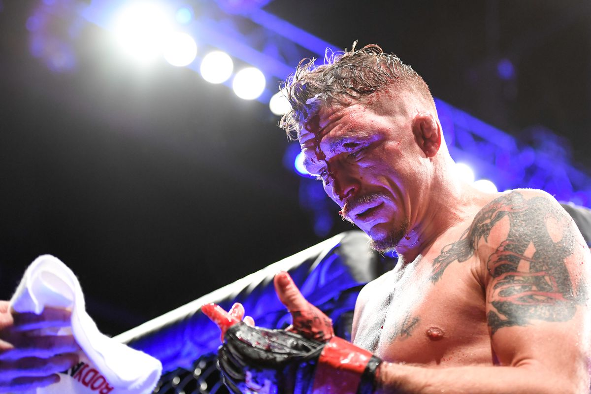 Darren Elkins of the United States exits the octagon after being defeated by Nate Landwehr (not pictured) of the United States in their Featherweight bout during UFC Fight Night at VyStar Veterans Memorial Arena on May 16, 2020 in Jacksonville, Florida.