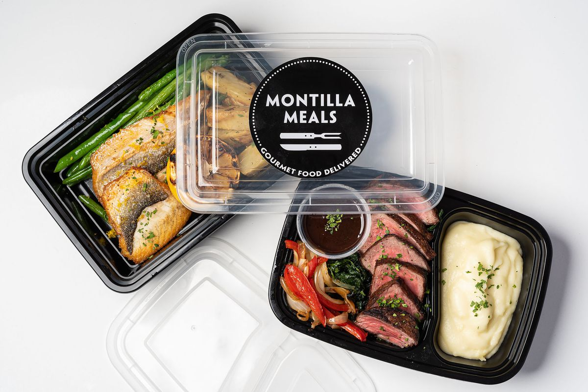 Branzino and steak packaged for delivery by Montilla Meals.