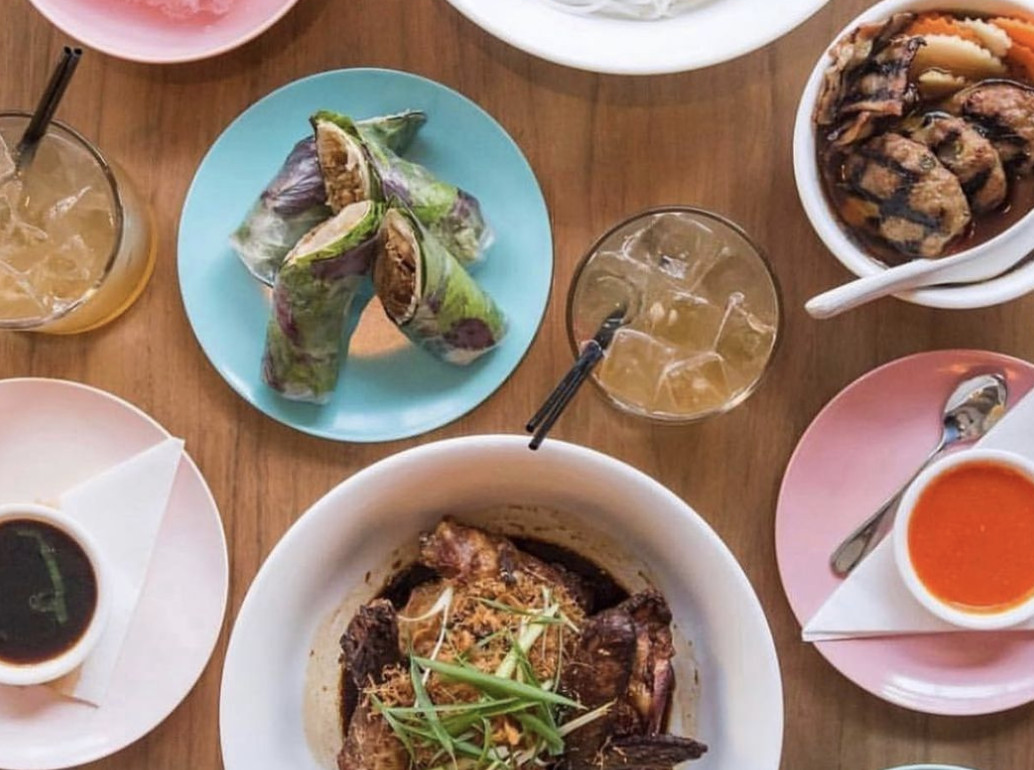 A selection of colorful plates from Stateside, including cumin ribs