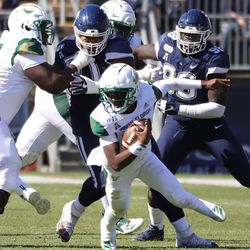The USF Bulls take on the UConn Huskies in a college football game at Pratt and Whitney Stadium at Rentschler Field in East Hartford, CT on October 5, 2019.