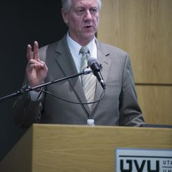 """Michael Otterson, managing director of Public Affairs for The Church of Jesus Christ of Latter-day Saints, speaks at the 2016 Mormon Studies Conference on the topic of """"Mormonism and the Art of Boundary Maintenance"""" at Utah Valley University in Orem, Utah, Tuesday, April 12, 2016."""