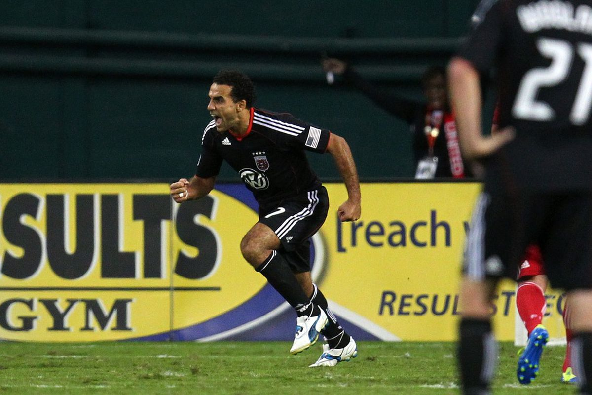 WASHINGTON, DC - OCTOBER 15: Dwayne De Rosario #7 of D.C. United celebrates after a goal against the Chicago Fire at RFK Stadium on October 15, 2011 in Washington, DC. (Photo by Ned Dishman/Getty Images)