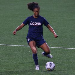 UConn's Laci Lewis #18 during the UMass Minutewomen vs the UConn Huskies at Morrone Stadium at Rizza Performance Center in an exhibition women's college soccer game in Storrs, CT, Monday, August 9, 2021.