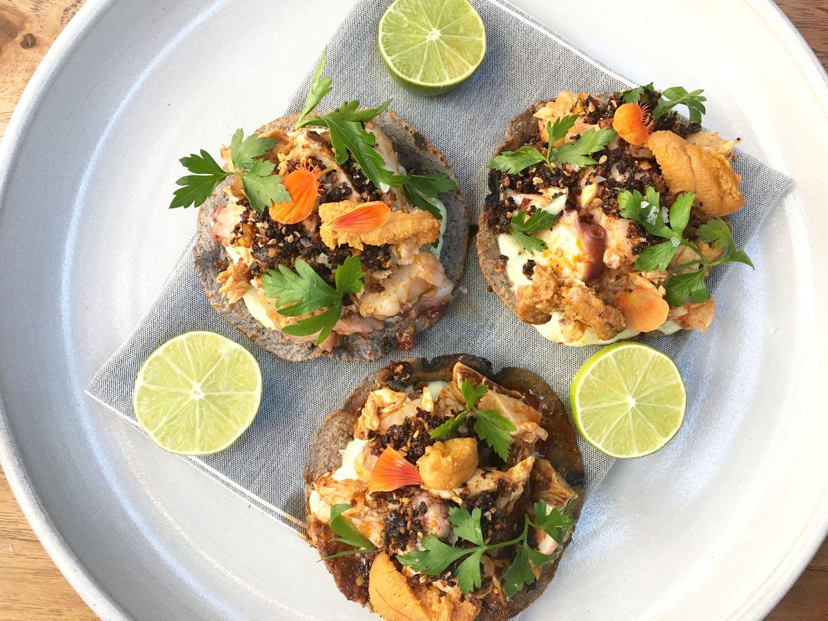 Seafood tostadas at Comedor