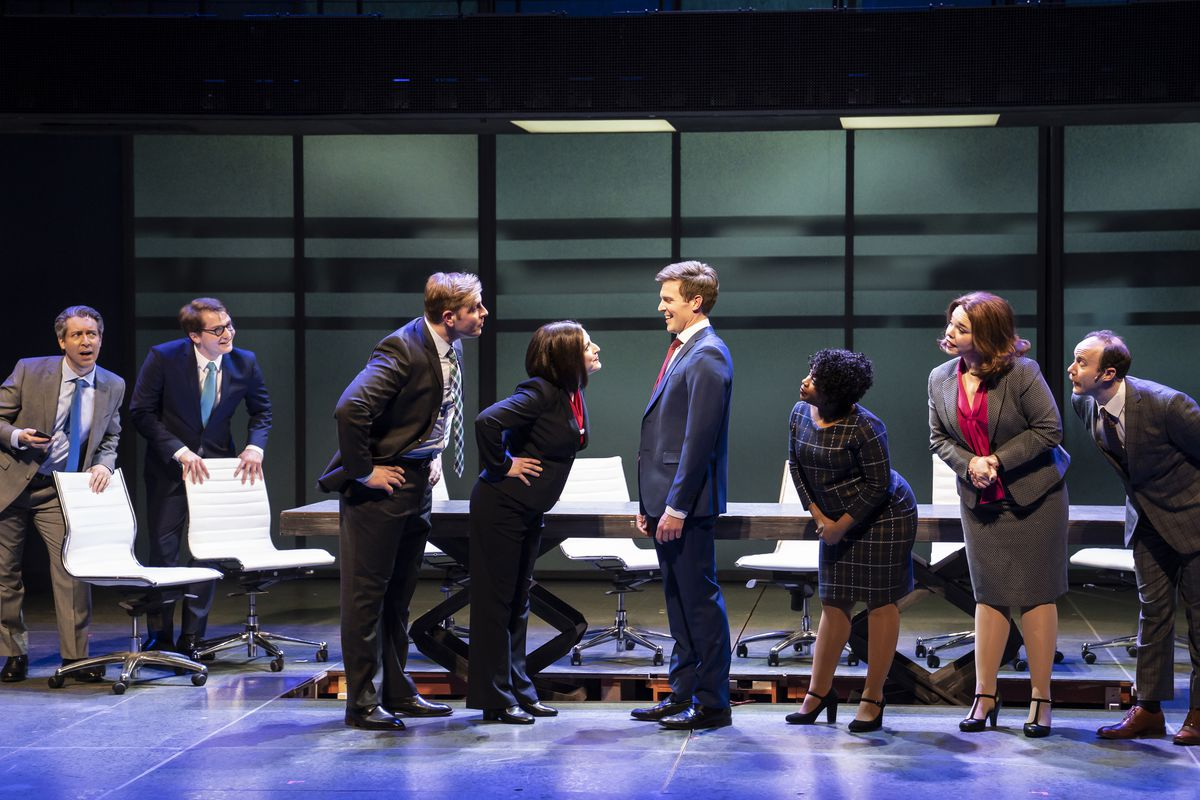 """George Keating (from left), Jake Morrissy, Brandon Dahlquist, Dara Cameron, Billy Harrigan Tighe, Alexis J. Roston, Jonathan Schwart and Madison Kauffman star in Paramount Theatre's world premiere musical """"The Secret of My Success."""""""