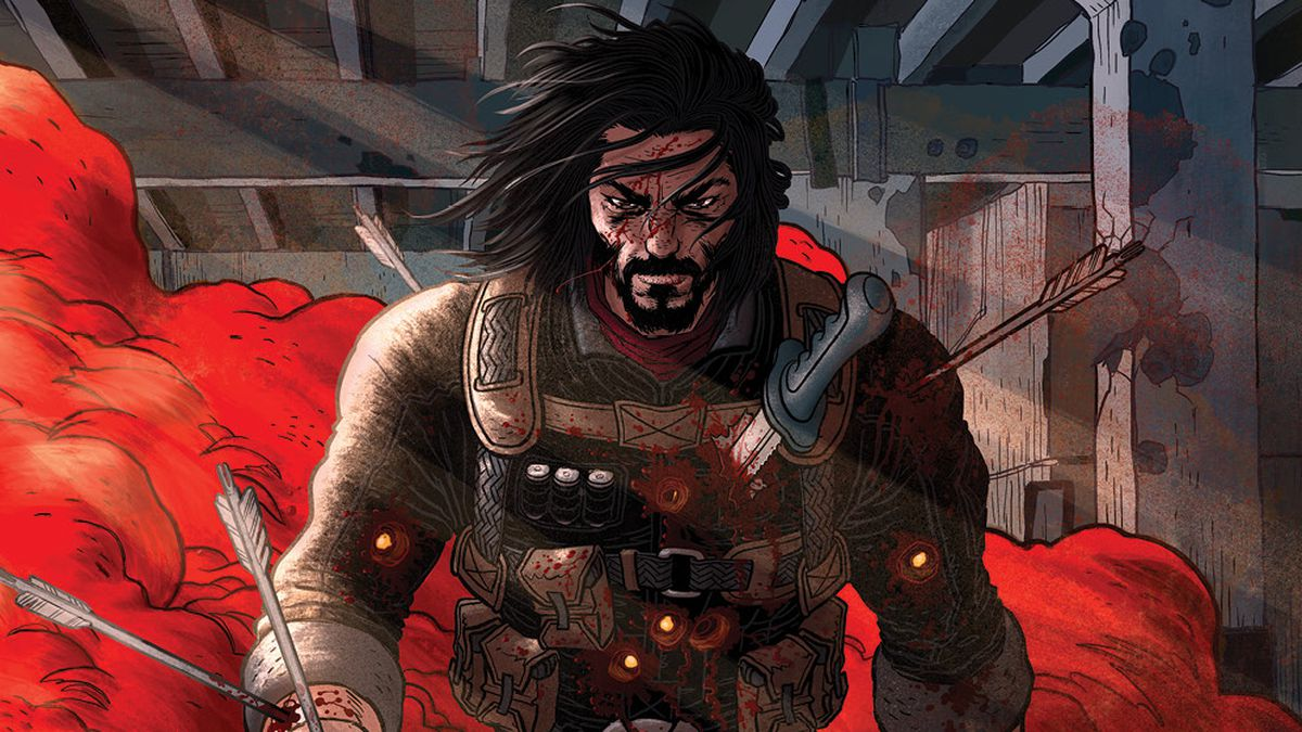 The main cover for BZRKR issue #1 shows Keanu festooned with sharp objects, stoically walking through a cloud of red smoke... or blood. Could be blood.