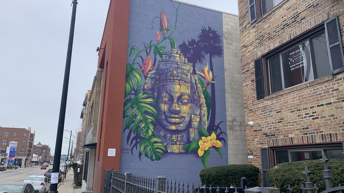 """""""Cambodian Colors,"""" created in 2018, can be seen outside at the Cambodian Association of Illinois in Ravenswood."""
