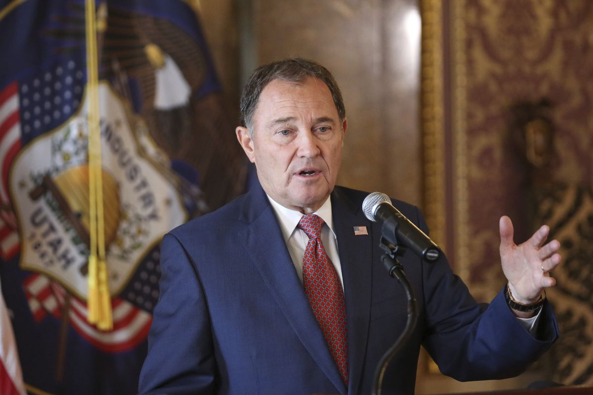 File - In this Sept. 12, 2018 file photo, Utah Gov. Gary Herbert gestures during a news conference at the Utah State Capitol in Salt Lake City. Gov. Gary Herbert said Thursday, Feb. 28, 2019, that he backs a legislative push to ban some types of gay conve
