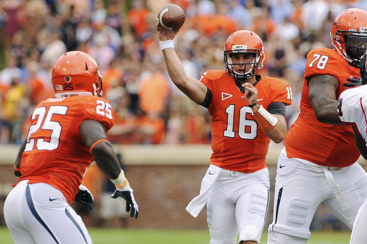 Virginia quarterback Michael Rocco (16) passes to tailback Kevin Parks against Richmond during the first quarter of an NCAA college football game, Saturday, Sept. 1, 2012, in Charlottesville, Va.
