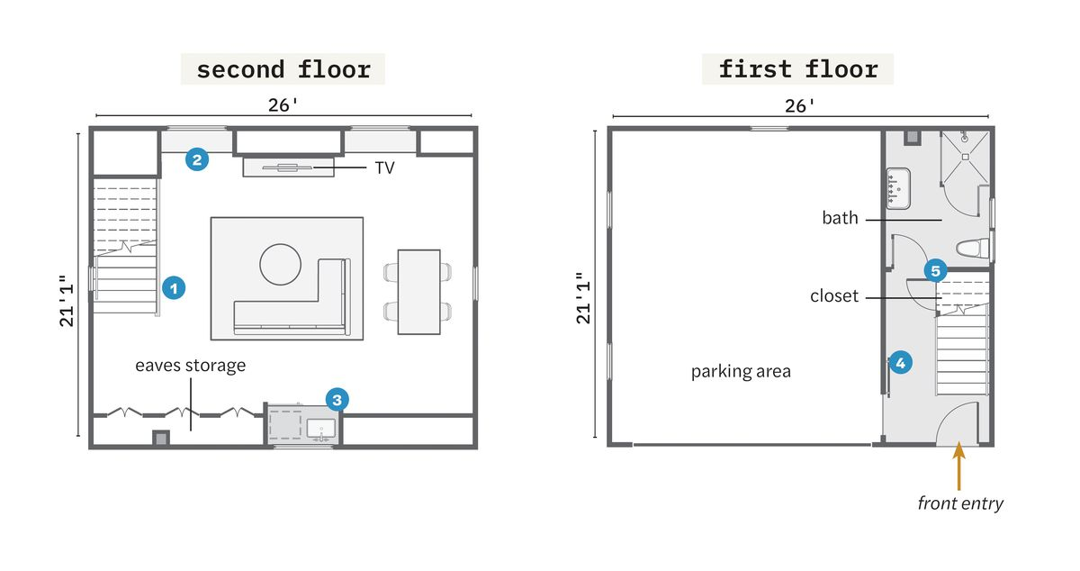 Fall 2021 Before & After Garage, floor plans