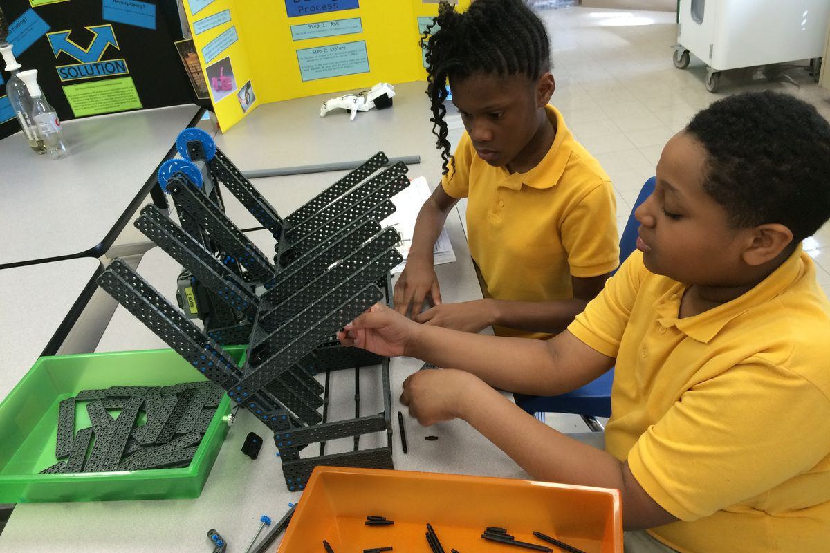 Whitehaven Elementary School students work on a robotics project. The Memphis school has moved off of the state's list of lowest-performing schools.