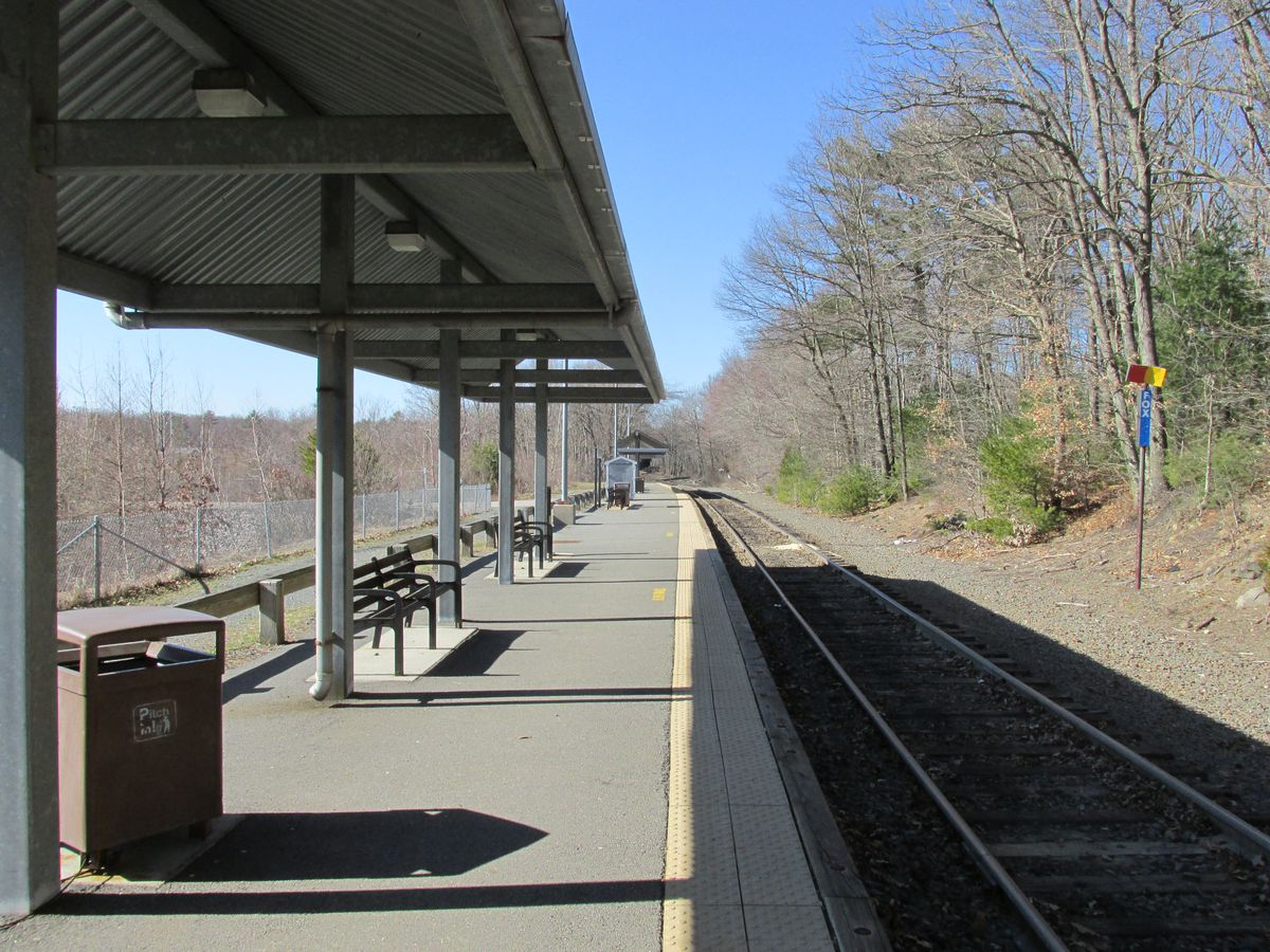 An empty train platform.