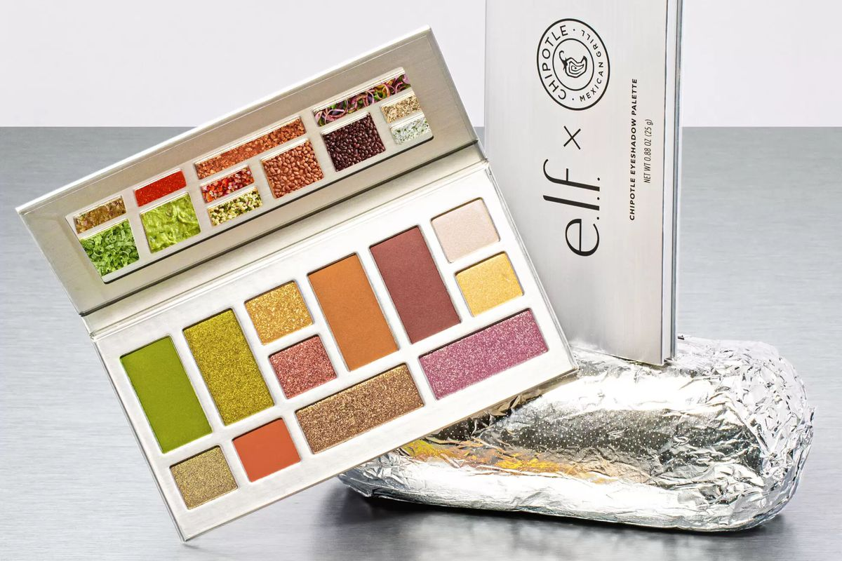 An eyeshadow palette from elf cosmetics and Chipotle perched on a foil-wrapped burrito