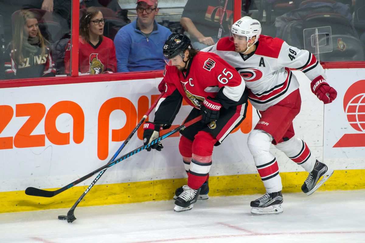 Viktor Rask tries to slow down the best defenceman in the league