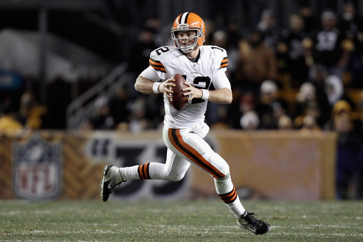PITTSBURGH, PA - DECEMBER 08:  Colt McCoy #12 of the Cleveland Browns rolls out of the pocket in the first half against the Pittsburgh Steelers at Heinz Field on December 8, 2011 in Pittsburgh, Pennsylvania.  (Photo by Jared Wickerham/Getty Images)