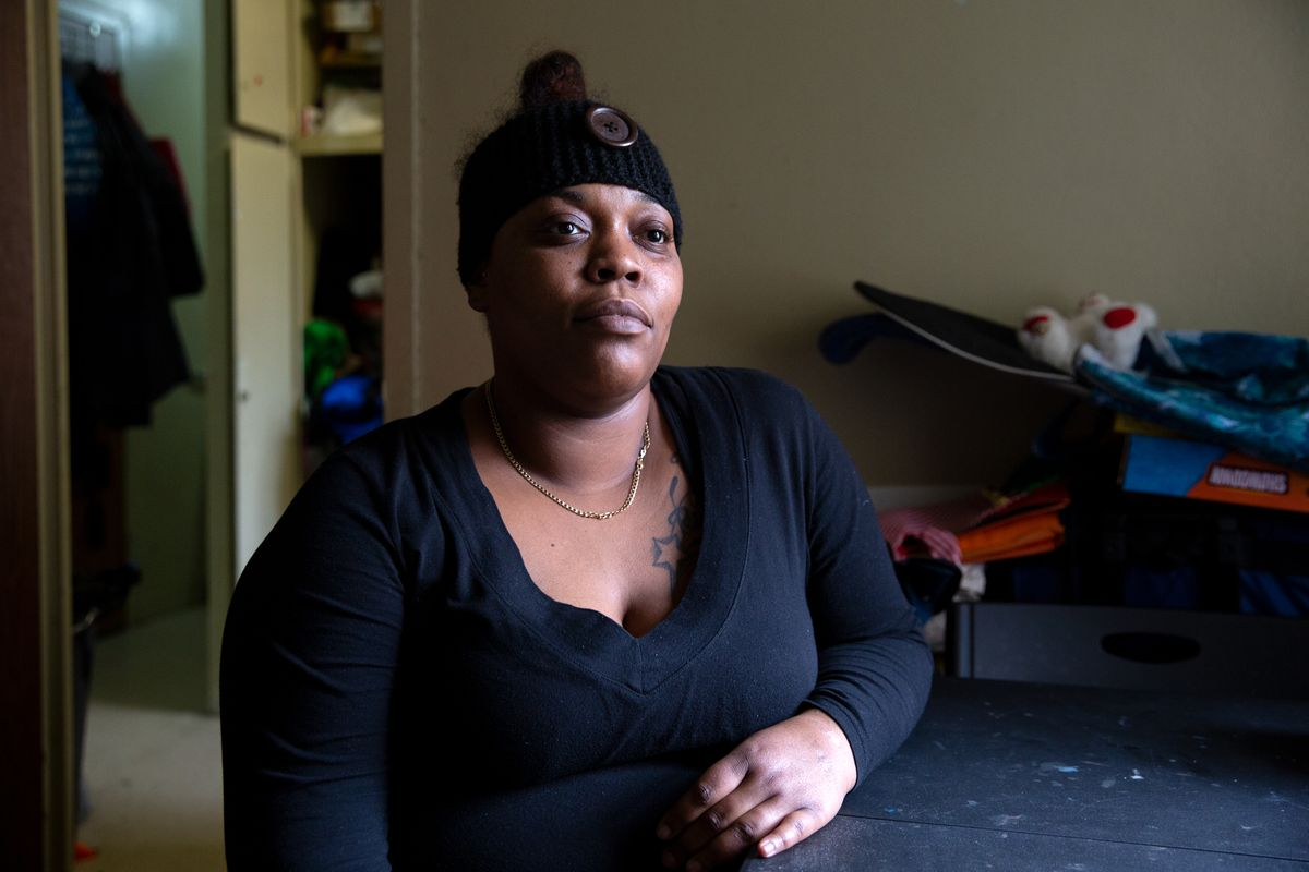 Eleanore Bumpurs, whose great grandmother was fatally shot by NYPD officers in the 80s, is dealing with similar problems in her Bronx NYCHA apartment that her ancestor faced, Jan. 19, 2021.